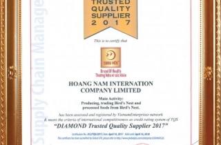 Công ty TNHH Quốc tế Hoàng Nam đạt chứng nhận DIAMOND TRUSTED QUALITY SUPPLIER 2017