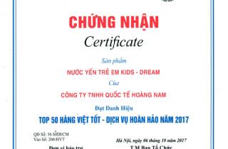 Nước Yến Kids Dream Thuộc Thương Hiệu Song Yến Vinh Dự Lọt Vào TOP 50